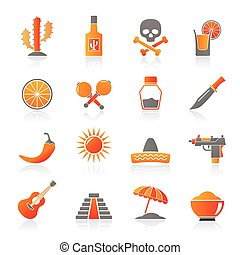 Mexico and Mexican culture icons - vector icon set
