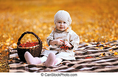 Autumn portrait child and basket with rowan berry