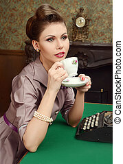 Pin-up woman in vintage interior - Pin-up beautiful young...