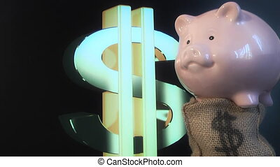 Piggy bank and dollar symbol - piggy bank on a background of...