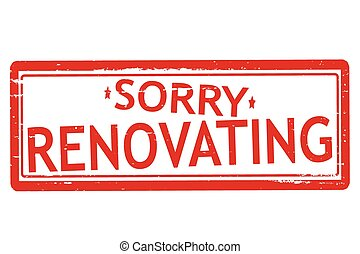 Renovating - Rubber stamps with word renovating inside,...