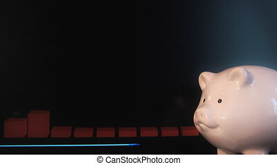 piggy bank and schedule - piggy bank on a background of the...
