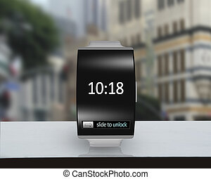 ultra-lightweight black glass bent interface smartwatch with...