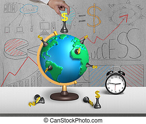 hand holding chess on 3d map globe with clock - hand holding...