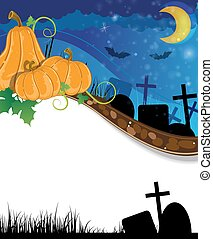 Halloween pumpkins on the cemetery - Three pumpkins with...