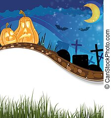 Funny Jack o lanterns on a cemetery - Funny pumpkin heads on...