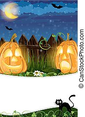 Jack o Lanterns and black cat - Funny Jack o Lanterns...