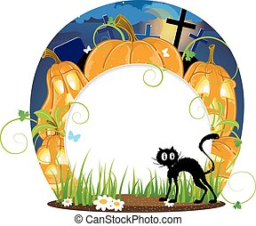 Jack o lanterns and black cat