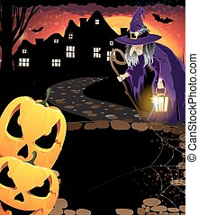 Laughing pumpkin head and old witch - Jack O'Lanterns and...