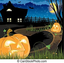 Jack o Lanterns on the path leading to the house with...