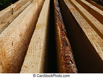 Wooden planks stacked with perspective