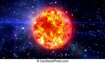 Sun in blue space - solar sun in the space night background