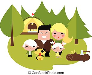 Family camping outdoors vector illustration flat style