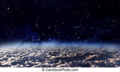 sky panning night to day - the starry night to day of...