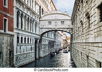 View of Bridge of Sighs in Venice, Italy - View of the...