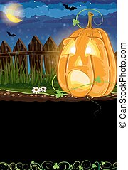 Scared Jack o Lantern - Jack o Lantern with sprouts and...