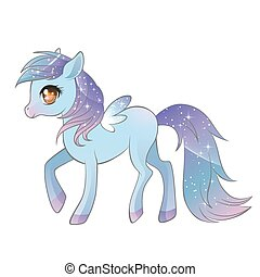Colorful pony with wings. - Vector illustration of colorful...