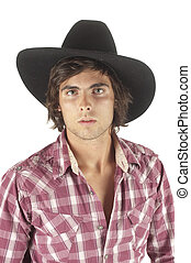 young cowboy isolated over a white background