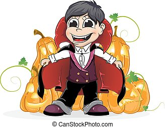 Vampire boy and Jack O Lanterns - Boy dressed as a vampire...