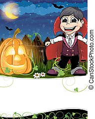 Vampire and jack o lantern - Boy dressed as a vampire and...