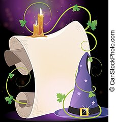 Witch hat and burning candles - Witch hat with parchment and...