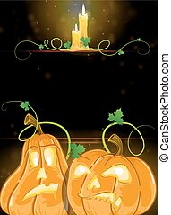 Jack o' Lanterns and burning candles - Pumpkin monsters with...