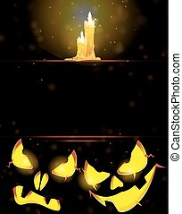 Jack o' Lanterns and burning candles - Two pumpkin monsters...