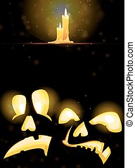 Horrible Jack o' Lanterns and burning candles - Two pumpkin...