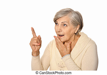 Beautiful Caucasian aged woman on a white background