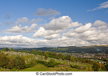 Stirling cemetery - A view of Stirling cemetery under a...