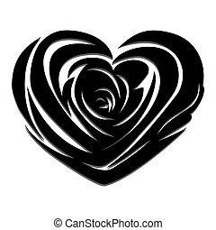 Vector rose heart - Flower love heart valentine day vector...
