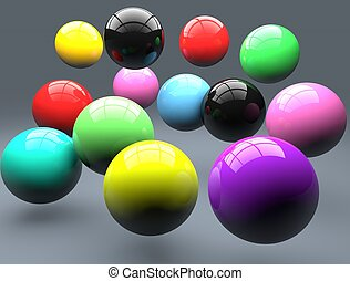 Polymer balls. Colorful balls sphere. Falling balls.