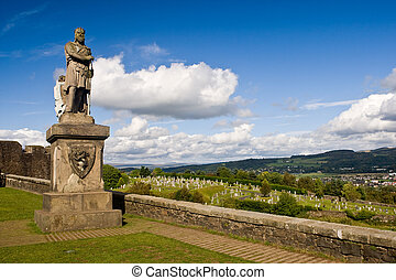 King Robert The Bruce statue under a cloudy sky, in the...