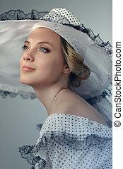 mulher, Retrato,  retro