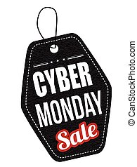 Cyber Monday black leather label or price tag on white...