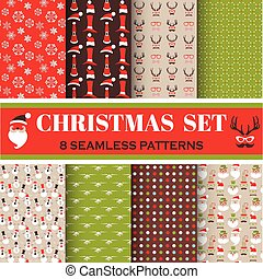 Christmas Retro Set - 8 seamless patterns - for design,...