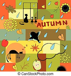 Funny autumn background - Funny bright background with...