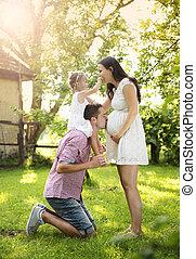 Pregnant family in garden - Happy pregnant family having fun...