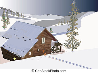 pollygon - An illustration of a wooden house in winter time,...