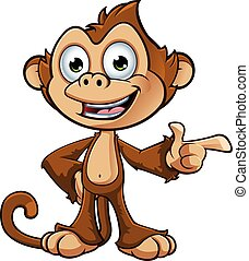 Cheeky Monkey Character - A cartoon illustration of a cheeky...