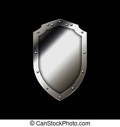 Medieval shield on a black background.