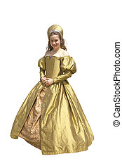Lady in waiting - young woman in an Elizabethan style period...