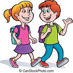 Boy and Girl Walking with Backpacks - Cartoon Illustration...