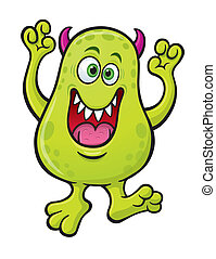 Green Horned Monster Cartoon - Cartoon illustration of a...