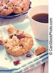 Sweet time - Sweet dry cranberry cookies and cup of...