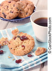 Cookies and coffee - Dry cranberry cookies and...
