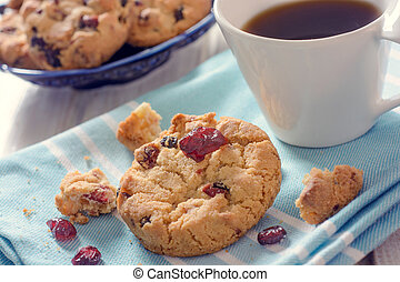 Coffee and cookies - Dry cranberry cookies and coffee...
