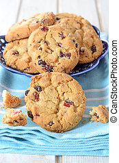 Cranberry cookies - Dry cranberry cookies on wooden...