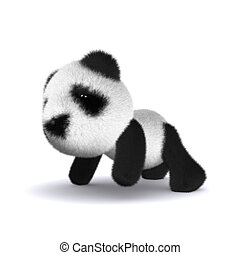 3d Baby panda bear crawling on floor - 3d render of a panda...