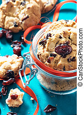 Sweet dry cranberry cookies - Selective focus on the front...